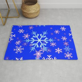 DECORATIVE BLUE  & WHITE SNOWFLAKES PATTERNED ART Rug