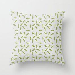 Edamame pattern with a gray background Throw Pillow