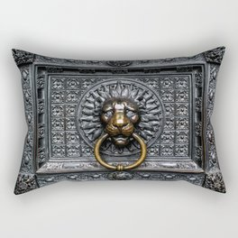 Doorknocker Lion - Black / Gold Rectangular Pillow