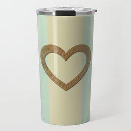 Big Gold Heart Pastel Green Yellow Romantic Love Travel Mug