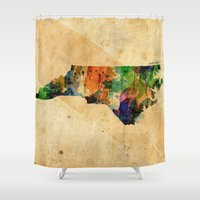 north carolina Shower Curtains featuring North Carolina by TiannaHarman