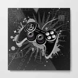 Gamepad Graffiti Grunge Metal Print