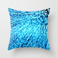 turquoise Throw Pillows featuring TURquoise Pixel Wind by 2sweet4words Designs