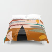 mid century modern Duvet Covers featuring Mid-Century  Modern Space Age by Kippygirl