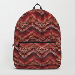Red knitted zig zag pattern. Backpack
