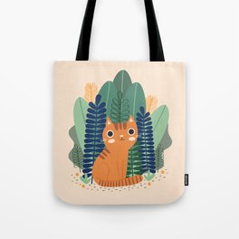 Orange Garden Cat Tote Bag