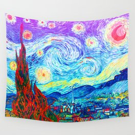 Psychedelic Starry Night Abstract Van Gogh Wall Tapestry