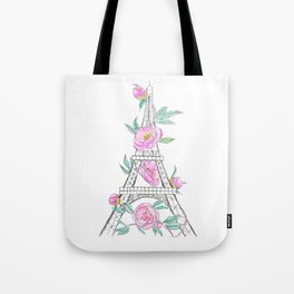 Eiffel tower and peonies Tote Bag