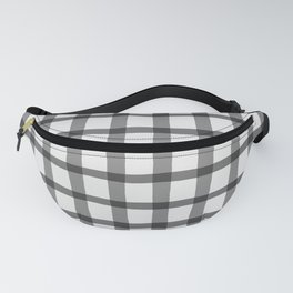 Gray and White Jagged Edge Plaid Fanny Pack