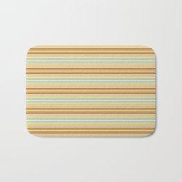 Autumn orange yellow mint green geometrical stripes Bath Mat