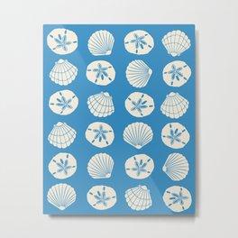 Sea Shells Blue Metal Print