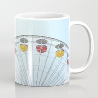 santa monica Mugs featuring Santa Monica Ferris Wheel by CourtneyAnnJuly