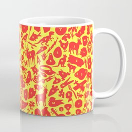 Alphabet Compendium Letter Silhouette Pattern - Red Coffee Mug