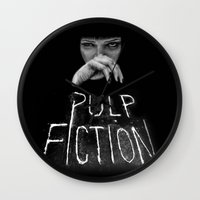 pulp fiction Wall Clocks featuring Pulp Fiction by Demetria Rose