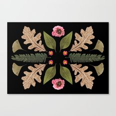 ROSE & LEAVES COLLAGE BLACK BACKGROUND Canvas Print