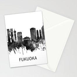 Fukuoka Japan Skyline BW Stationery Cards