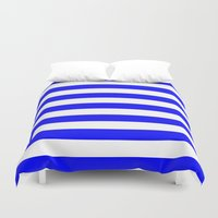 stripes Duvet Covers featuring Horizontal Stripes (Blue/White) by 10813 Apparel