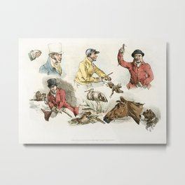 Illustration of hunters animals and birds from Sporting Sketches (1817-1818) by Henry Alken (1784-18 Metal Print