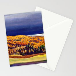 Golden Autumn landscape painting by Rockwell Kent Stationery Cards