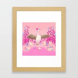 Mommy goose and her little goslings Framed Art Print