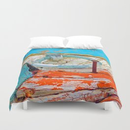 A boat that was washed ashore on Ageon Sea, decaying in the sun. Duvet Cover