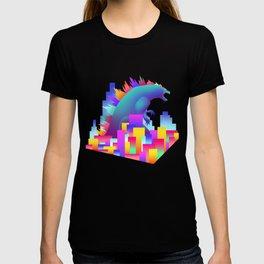 Neon city Godzilla T-shirt