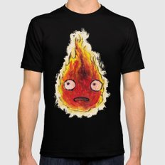 Burning Calcifer Mens Fitted Tee Black X-LARGE
