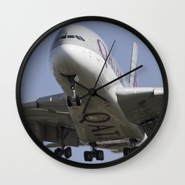 Very Fat Qatar Airlines Airbus A380  Wall Clock