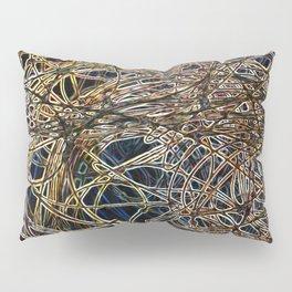 Dark Abstract Neon String Pattern Pillow Sham