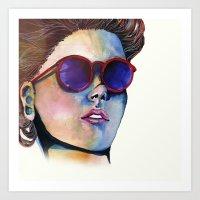 Sunglasses in watercolor Art Print