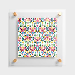 Colorful oriental watercolor floral pattern. Floating Acrylic Print