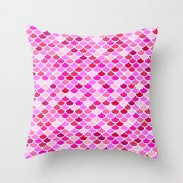 Pink Mermaid Scales Pattern Throw Pillow