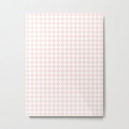 Small Diamonds - White and Pastel Pink Metal Print