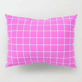 Purple pizzazz - pink color - White Lines Grid Pattern Pillow Sham