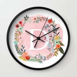 Flower Wreath with Personalized Monogram Initial Letter D on Pink Watercolor Paper Texture Artwork Wall Clock