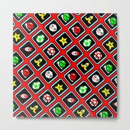 Super Mar!o Kart items pattern   red shell   retrogaming gift Metal Print