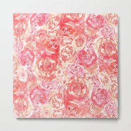 Living Coral Pink Watercolor Roses Flower Pattern Metal Print