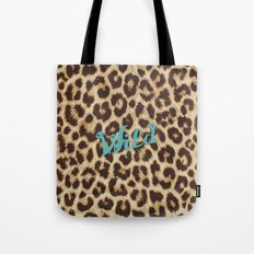 Leopard Print Teal Blue Wild Brown Girly Pattern Tote Bag