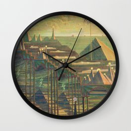 Allegro Egyptian Dynasty Pyramids landscape by by Mikalojus Konstantinas Čiurlionis Wall Clock
