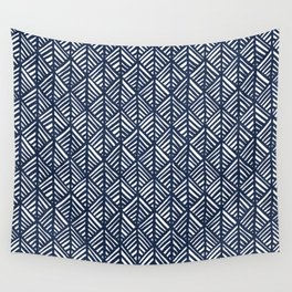 Abstract Leaf Pattern in Blue Wall Tapestry