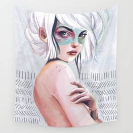 silver hair girl waiting Wall Tapestry