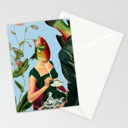 fish soul mate Blue #collage Stationery Cards