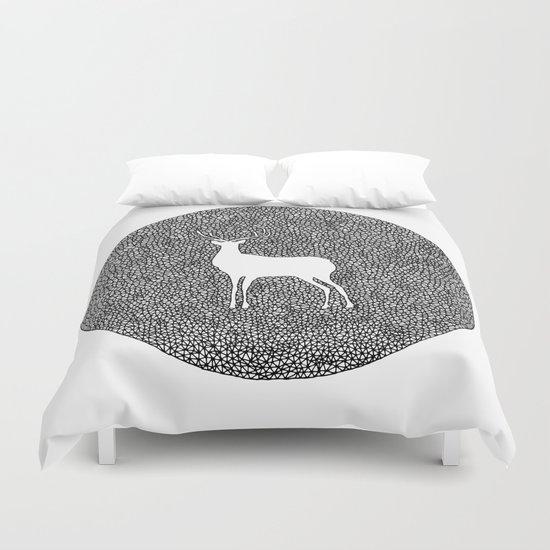 Deer Mandala 2 black-white Duvet Cover