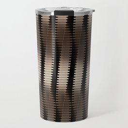 Spinning Columns - Bright Copper - Futuristic Industrial Sci-Fi Pattern Travel Mug