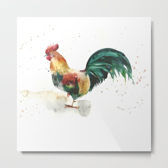 Symbol of the year, watercolor rooster, cock, cockerel Metal Print