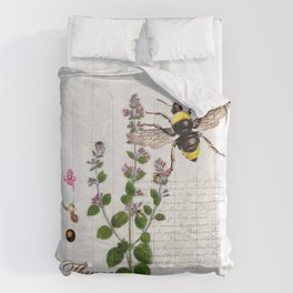 Cottage Style Thyme, Bumble Bee, Hummingbird, Herbal Botanical Illustration Comforters
