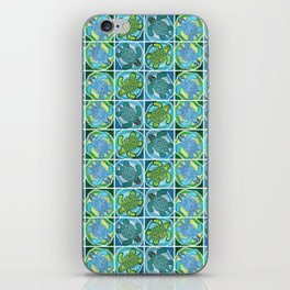 Funky Teal Turtle iPhone Skin