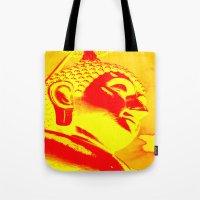 buddah Tote Bags featuring Buddah Head 04; Orange Blush by Kether Carolus