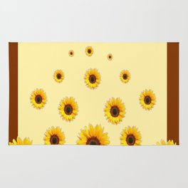 RAINING SUNFLOWERS FLOWERS CREAMY BROWN ART Rug