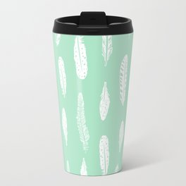 Feathers pattern minimal mint and white feather pattern trendy boho gifts for nursery decor Travel Mug